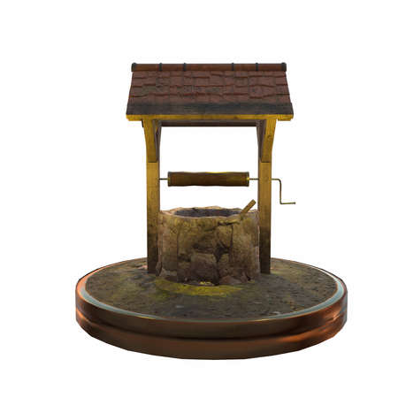 rural wooden bucket: 3d illustration of old magic well. isolated on white background
