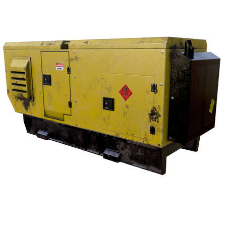 power supply unit: 3d illustration of old dirty diesel generator. isolated on white background