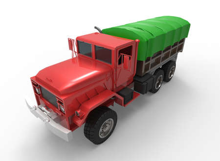 tractor trailer: 3d illustration of generic truck. nice and clean metal. isolated on white background