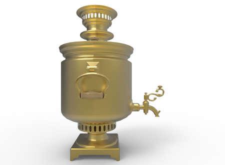 samovar: 3d illustration of golden samovar. isolated on white background