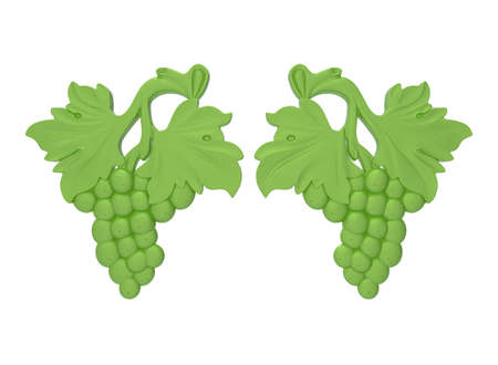 3d illustration of decorative grapes ribbon. white background isolated. icon for game web.