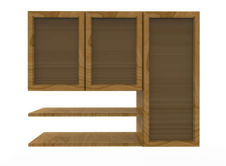 3d illustration of wooden shelves. white background isolated. icon for game web. Stock Photo