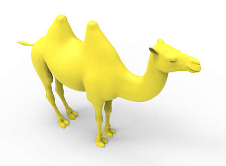 3d illustration of yellow camel. white background isolated. icon for game web.