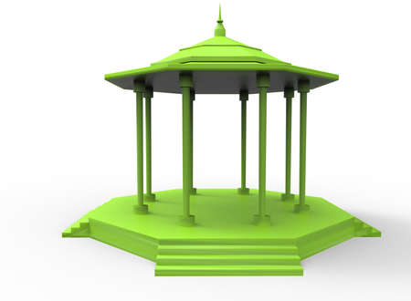 patio deck: 3d illustration of gazebo. white background isolated. icon for game web.