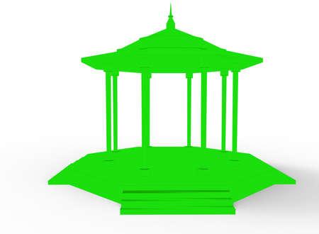 garden path: 3d illustration of gazebo. white background isolated. icon for game web.