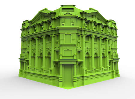 3d illustration of old retro building. white background isolated. icon for game web.