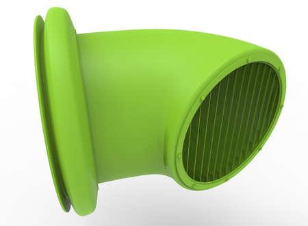 zinc: 3d illustration of ventilation tube. white background isolated. icon for game web.