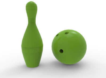 3d illustration of green bowling skittles and ball. white background isolated. icon for game web.