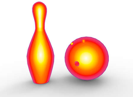 3d illustration of red bowling skittles and ball. white background isolated. icon for game web. Stock Photo