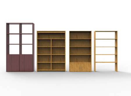 market place: 3d illustration of wooden shelves. white background isolated. icon for game web. Stock Photo
