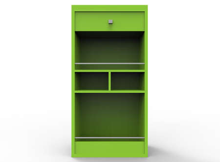 market place: 3d illustration of green shelves. white background isolated. icon for game web. Stock Photo