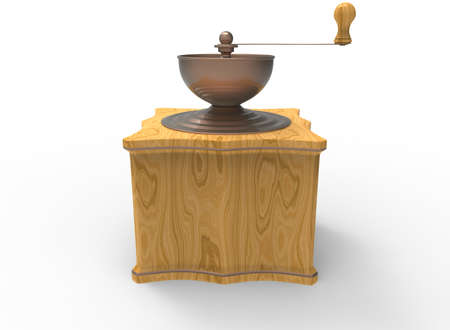 3d illustration of wooden coffee grinder. white background isolated. icon for game web.
