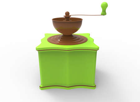 3d illustration of colored coffee grinder. white background isolated. icon for game web. Stock Photo