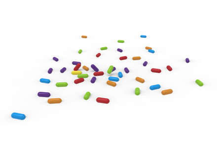 3d illustration of colored pills. white background isolated. icon for game web.