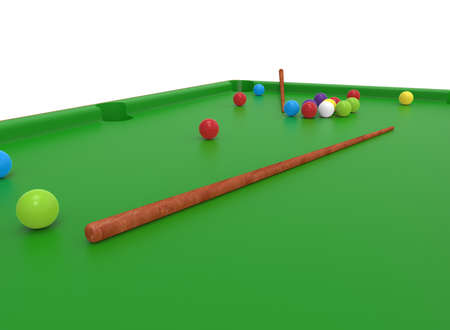 cue ball: 3d illustration of snooker table. white background isolated. icon for game web.