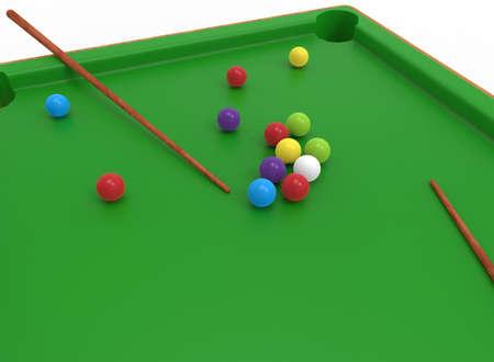 Illustration 3D de la table de billard. fond blanc isolé. icône pour le jeu web.