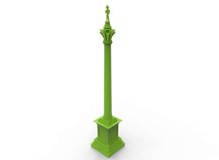 3d illustration of green nelsons column. white background isolated. icon for game web.