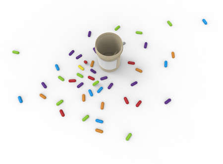 3d illustration of pills bottle with pills. white background isolated. icon for game web.