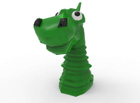 3d illustration of cartoon dragon face. white background isolated. icon for game web.