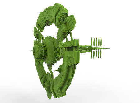 3d illustration of space station. white background isolated. icon for game web.