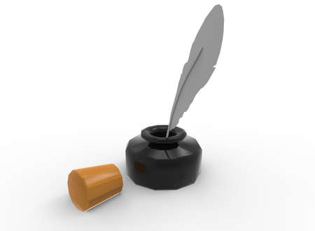 ink pot: 3d illustration of ink with feather. white background isolated. icon for game web.