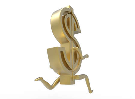 3d illustration of running dollar. white background isolated. icon for game web.