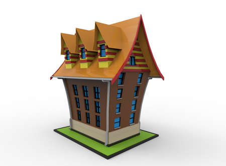 3d illustration of cartoon house. white background isolated. icon for game web.