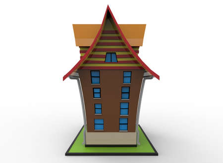 small town: 3d illustration of cartoon house. white background isolated. icon for game web.
