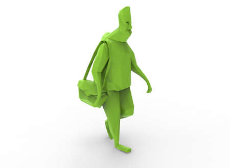 uomo vitruviano: 3d illustration of low poly green man. white background isolated. icon for game web.