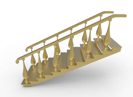 3d illustration of golden stairs. white background isolated. icon for game web.