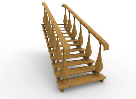 3d illustration of wooden stairs. white background isolated. icon for game web. Stock Photo