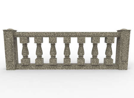 roman column: 3d illustration of balustrade. white background isolated. icon for game web.