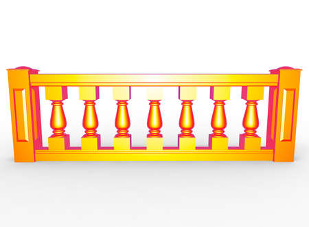 3d illustration of balustrade. white background isolated. icon for game web.