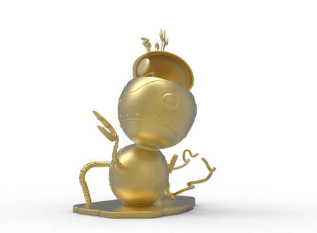 3d illustration of cute robot. white background isolated. icon for game web. Stock Photo
