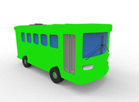 3d illustration of cartoon bus. white background isolated. icon for game web.