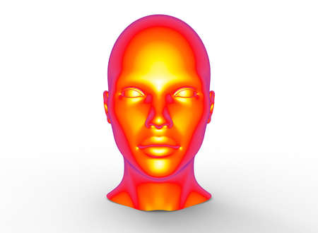 eye close up: 3d illustration of human head. white background isolated. icon for game web.