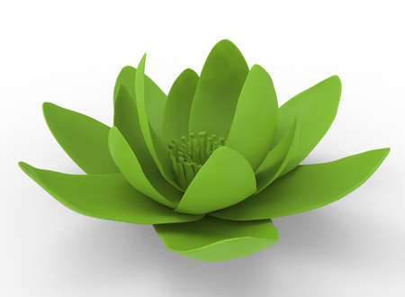 3d illustration of lotus. white background isolated. icon for game web.