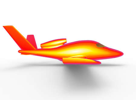 3d illustration of cartoon plane. white background isolated. icon for game web.