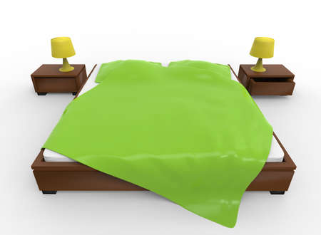 nightstands: 3d illustration of bed with nightstands. white background isolated. icon for game web.