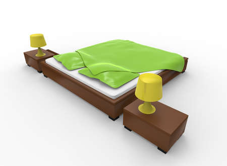 3d illustration of bed with nightstands. white background isolated. icon for game web.