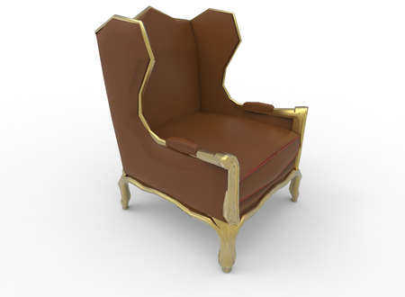 3d illustration of armchair. white background isolated. icon for game web.