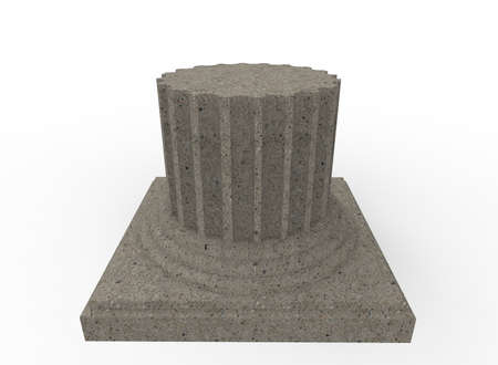 3d illustration of cracked greek column. white background isolated. icon for game web. Stock Photo