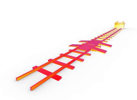 3d illustratie van spoorweg bumper. witte achtergrond geïsoleerd. pictogram voor spelweb. Stockfoto