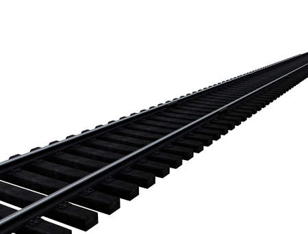 3d illustration of railroad track. white background isolated. icon for game web.