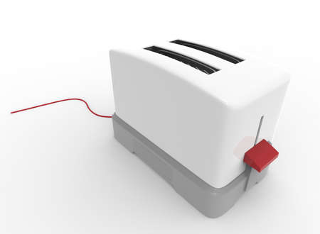 contemporary taste: 3d illustration of toaster. white background isolated. icon for game web.
