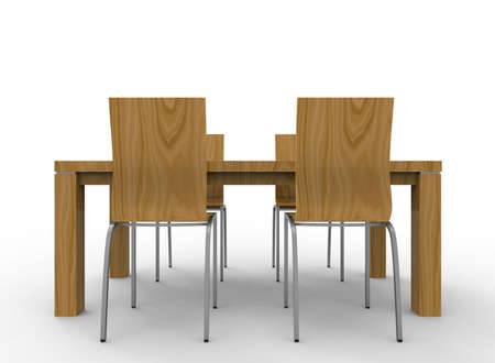 round chairs: 3d illustration of chairs with table. white background isolated. icon for game web.