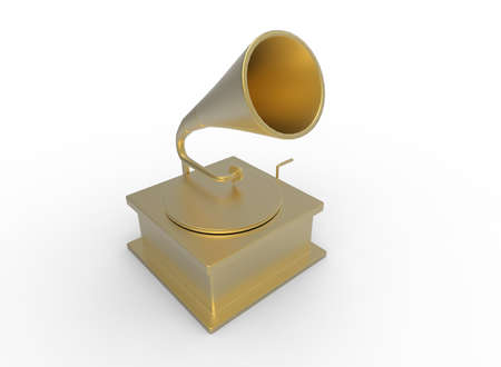 3d illustration of colored old gramophone record. white background isolated. icon for game web.