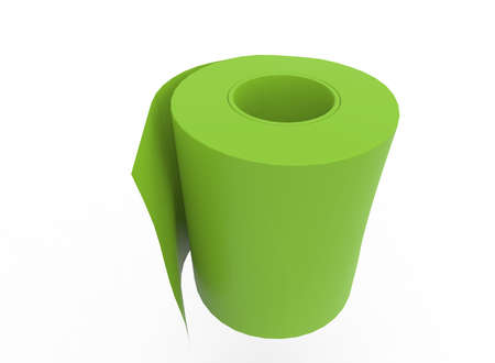3d illustration of WC toilet paper. white background isolated. icon for game web. Stock Photo