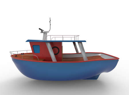 3d illustration of cartoon boat. white background isolated. icon for game web. Stock Photo