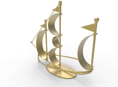 3d illustration of desk decoration boat. white background isolated. icon for game web. Stock Photo